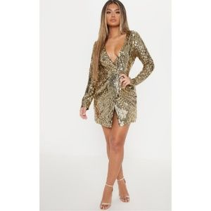 PRETTY LITTLE THING Gold Sequin Plunge Wrap Dress